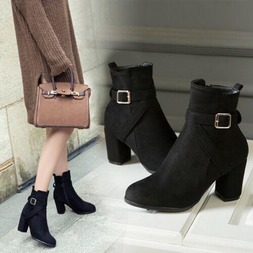 Details about  /Winter Women Round Toe High Block Heel Platform Buckle Ankle Boots Nightclub D