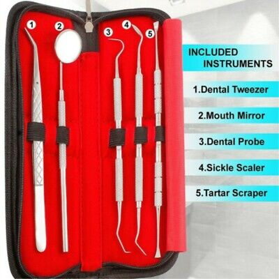 5 Set Of Stainless Steel Dentist Tools Hygiene Cleaning Tooth Dental Pick Kit Fd