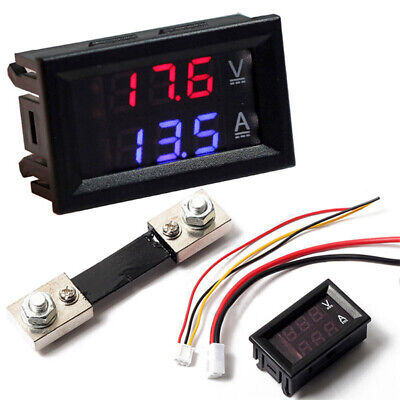 Mini Dc 100v 100a Digital Voltmeter Ammeter Blue Red Led Volt Amp Meter Gauge Us