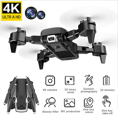 Quadcopter Drone 1080P HD 4K WIFI FPV Camera Foldable Aircraft Toy W 2 Batteries