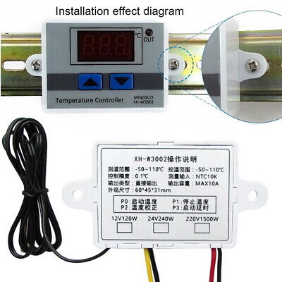 12v24v220v Digital Led Temperature Controller Thermostat Control Switch Probe