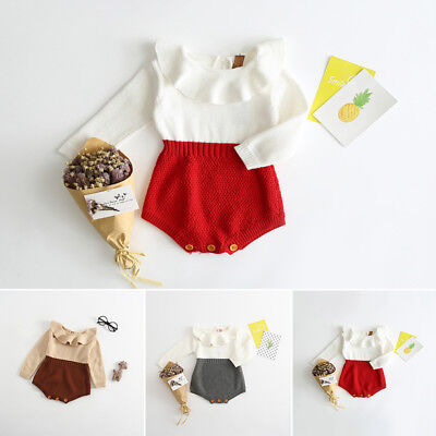 New Infant Newborn Baby Girl Knit Jumpsuit Romper Bodysuit Cotton Clothes Outfit ()