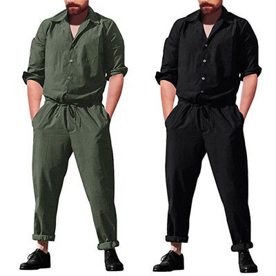Men's One Piece Rompers Long Sleeve Street Casual Pants Jumpsuit Overalls