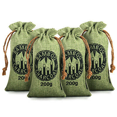 Reusable Air Purifying Bag Bamboo Charcoal Bag Freshener Odor Deodorizer 4x200g
