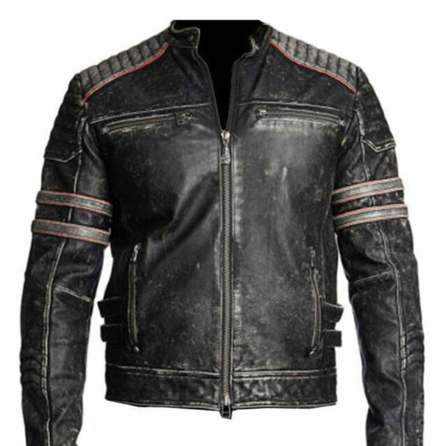 Men's Biker Vintage Motorcycle Cafe Racer Retro Moto Distressed ...