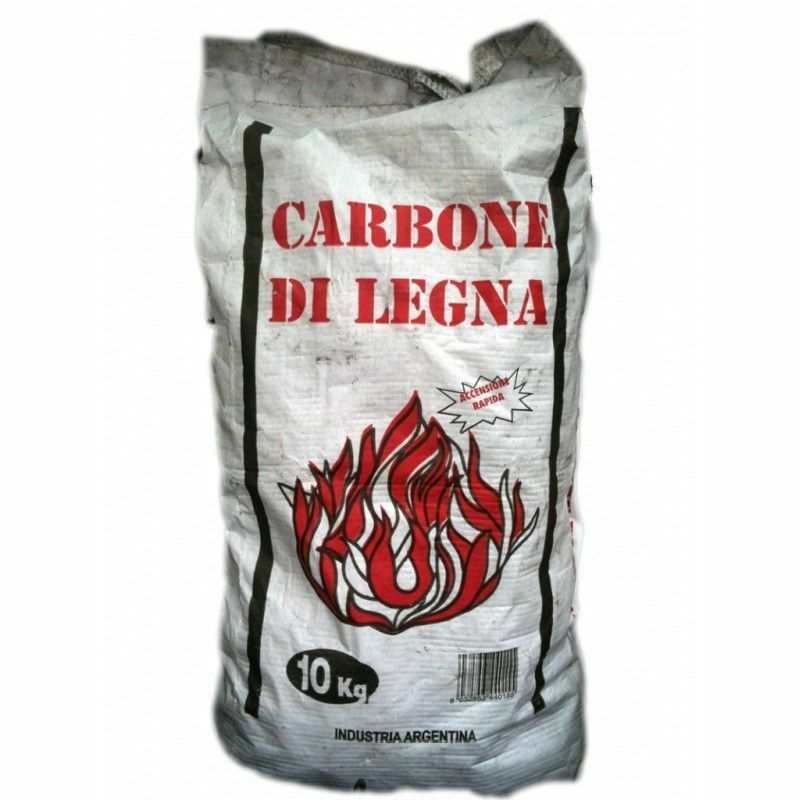 CARBONE DI LEGNA 10 Kg ARGENTINO - barbecue, grill, grigliata, sacco carta/plast