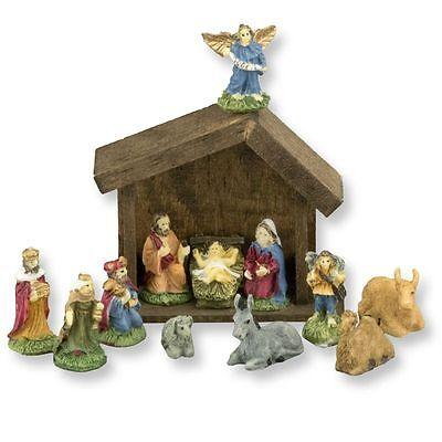 Dollhouse Miniature 12 Piece Nativity Set w/ Wood Manger by Doll House Shoppe