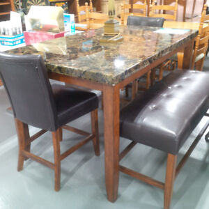 Brand New Faux Marble Dining Table Set