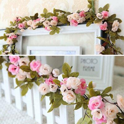 Künstliche Seide Rose Girlande Efeugirlande Hängend Kunstblumen Hochzeit Rosa