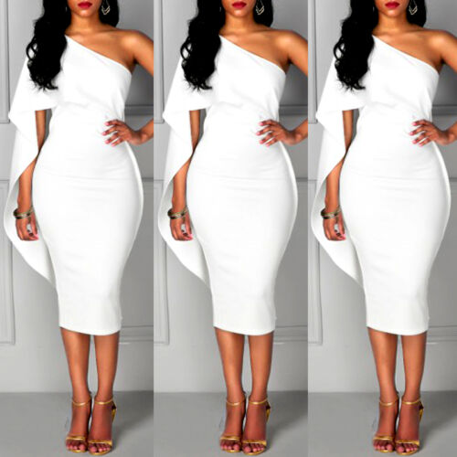 Dress - Women Bandage Bodycon One Shoulder Sleeveless Party Evening Cocktail Mini Dress