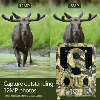 Wildlife Trail Camera 12MP 1080P Hunting Camera with 120°Wide Angle Night Vision