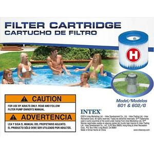 """NEW: Intex Type """"H"""" Pool Filter Cartridge for Pools (Twin Pack)"""