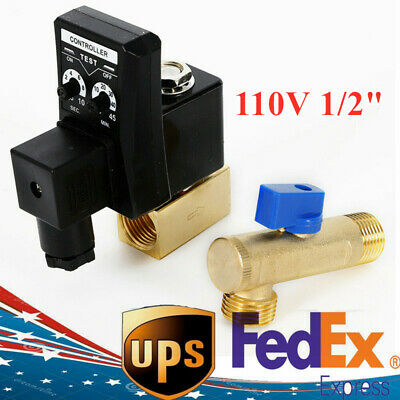 Us Ac 110v 12 Electronic Timed 2 Way Air Compressor Gas Tank Auto Drain Valve