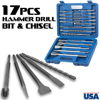 17pcs Drill Bits Chisel Sds Plus Rotary Hammer Bits Set Fit Bosch Hilti Plus