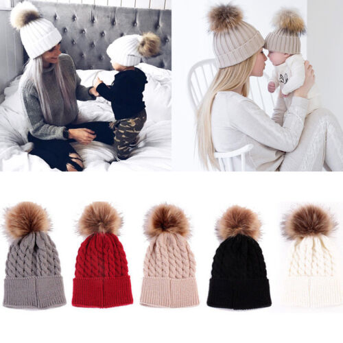 US Seller Women Baby Warm Winter Knit Wool Beanie Fur Pom Bobble Hat Crochet Cap