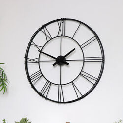 Large Black Metal Skeleton wall Clock vintage retro industrial rustic wall decor