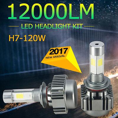2x 120W H7 COB LED Headlights 6000K Light Truck Car Bulb Kit White Beam 12000LM
