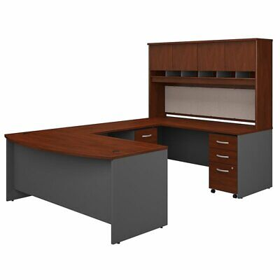 Bush Business 72W Bow Front U Shaped Desk with Hutch and Sto