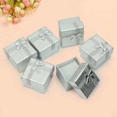 Bulk Lot 24Pcs Silver Square Jewelry Ring Gift Cardboard Box Present Case Holder