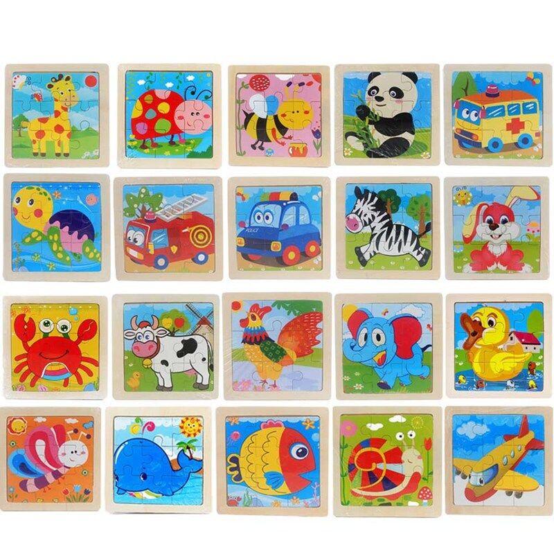 Kinder Holz Toy Puzzle Holz 3D Puzzle für Kinder Baby Cartoon Lernspielzeug