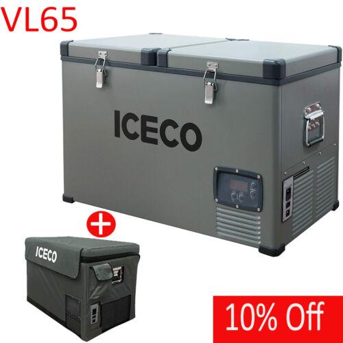 68QT Dual Zone Portable Fridge Refrigerator 12V Deep Freezer With Cover Outdoor