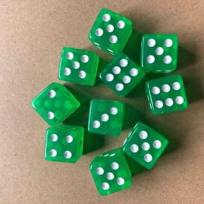 10pcs 16mm Six Sided D6 RPG Acrylic Transparent Straight Corner Dice Green Games