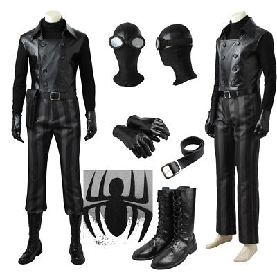 Spiderman Noir Cosplay Costume Halloween Mask Glasses Belt Pants Jacket Unisex