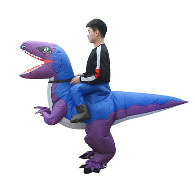 Inflatable Ride-On Velociraptor Dinosaur Costume; Purple; Waterproof; Unisex