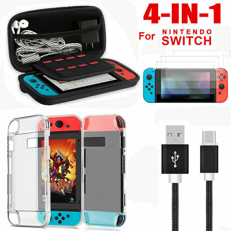 Für Nintendo Switch Tasche Bag EVA Case+Schutzhülle+kabel+Temperglass Folie