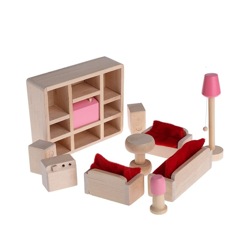 Wooden Furniture Dolls House Miniature 5 Room Set Doll Toy Gift For Kid Children