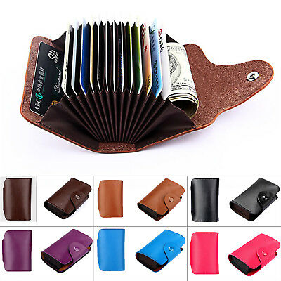 Genuine Leather Wallet Blocking Holder Credit Cards Case Men Women Money Pocket