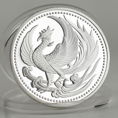 Oriental Cherry Sakura Nirvana Phoenix Lucky&happiness wishing Silver Art Coin