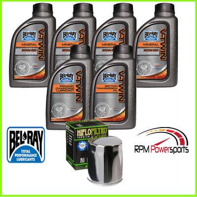 Harley Davidson Oil Change Kit V-Twin Primary/Transmission Oil Filter 20w50 6 qt