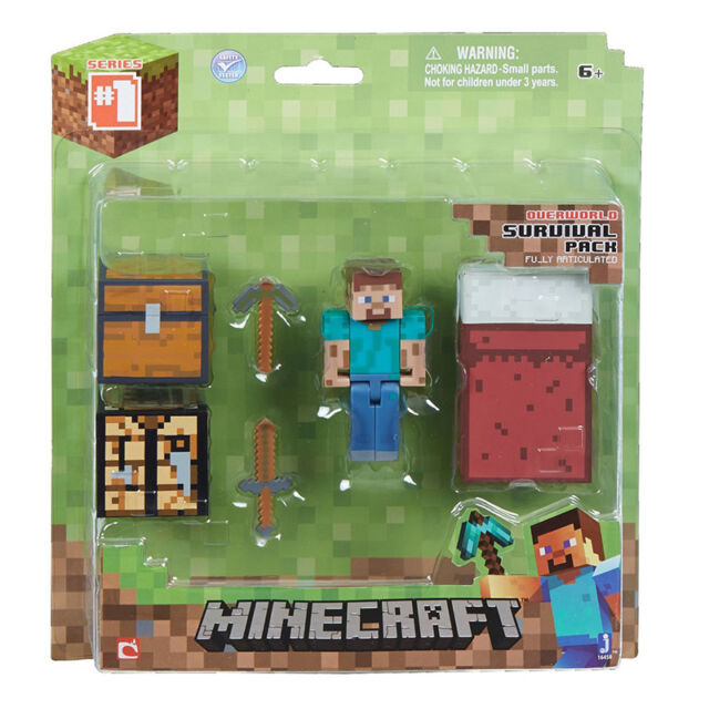 New Minecraft Overworld Survival Pack Steve Figure With Accessories Ages 6+