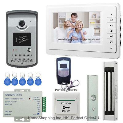 "7"" Video Door Phone Intercom System+RFID Card Access Keypad Camera+Magnetic Lock"