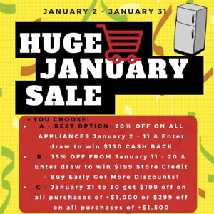 HUGE JANUARY SALES!!! STACKABLE WASHER DRYER ALL SIZES
