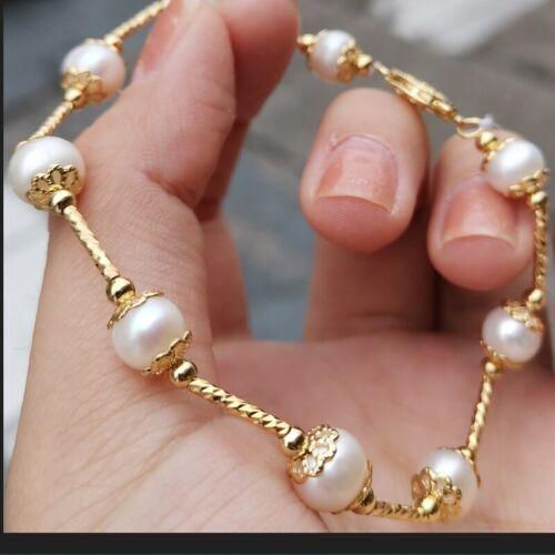 """Pretty Design 7.5-8"""" South Sea White Baroque Pearl Bracelet 14k Gold Clasp"""