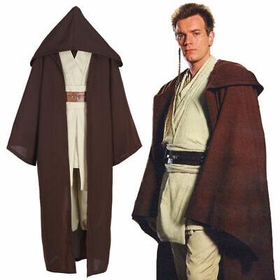 Halloween Christmas Cosplay Star Wars Jedi Knight Obi-wan Costume Men Adult UK