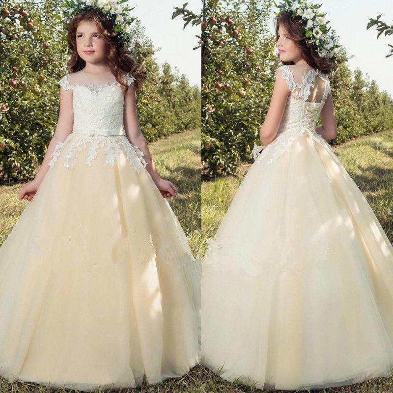Lace Tulle TUTU Flower Girl Dress Wedding Easter Junior Bridesmaid Dress