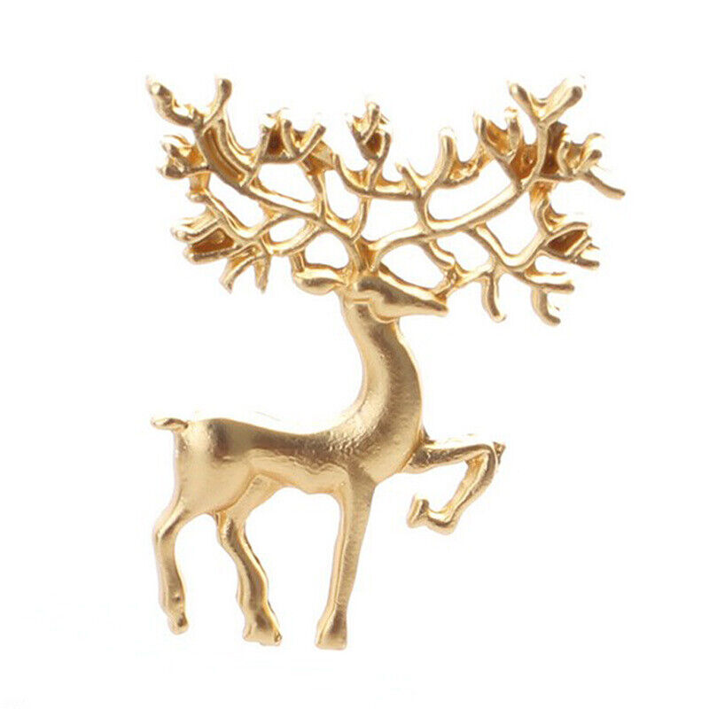 Collar Brooches Pins Metal Animal Longhorn Deer Brooches For Womens Accessoires~