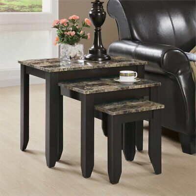 Monarch 3 Piece Faux Marble Top Nesting Table Set in Cappuccino Cappuccino Nesting Table