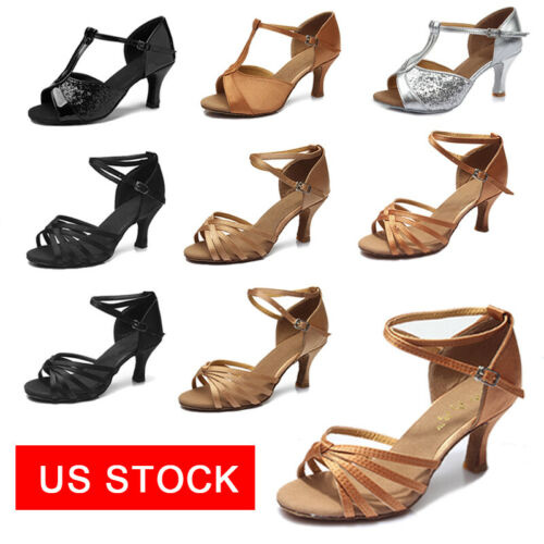 Ballroom Latin Dance Shoes For Women Girls Tango heeled Salsa Shoes US Stock