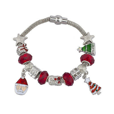 Lux Accessories Silver Tone Red Green Christmas Xmas Tree Santa Charm - Green Accessories