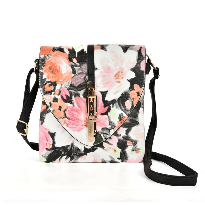 Details about Ladies Women New Style Floral Print Cross Body Shoulder Bag Side Messenger Bag