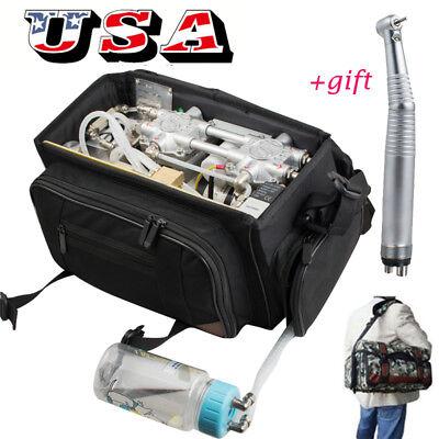 Mobile Portable Dental Unit Air Compressor Suction System Syringe Bag Handpiece