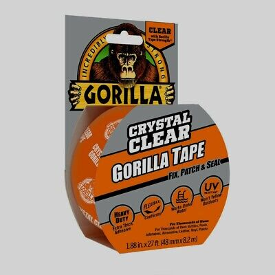 Gorilla Tape 27 Crystal Clear Adhesive Extra Thick Waterproof Repair Duct New