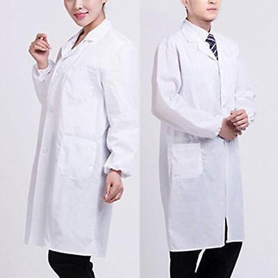 White Doctor's Coat (Men/Women White Lab Coat Hygiene Food Industry Doctors Laboratory Medical)