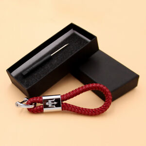 RED Calf Leather Alloy Keychain Decoration Gift Accessories FOR Maserati LOGO