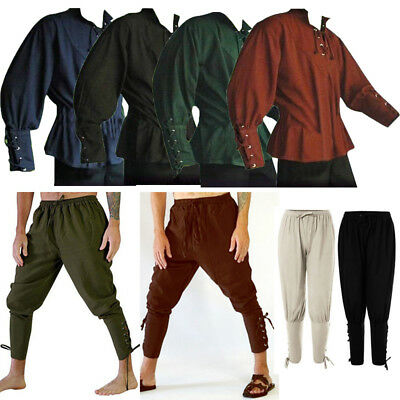 Medieval Renaissance Men Stand-up Collar Knight Shirt Top Lace Up Trousers Pants