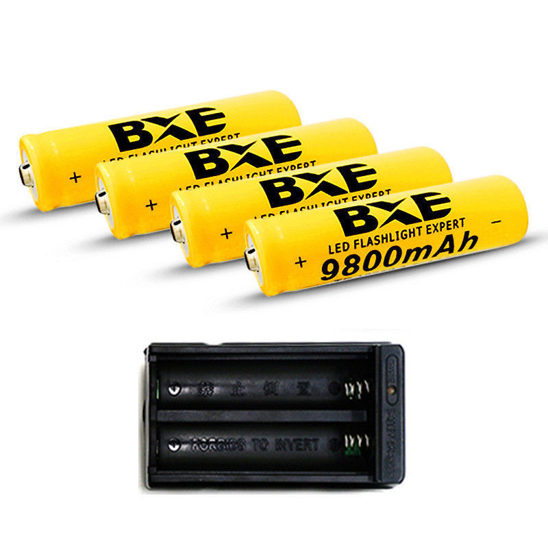 4pcs 18650 Battery 9800mAh Li-ion 3.7V Rechargeable Batteries Cell Bat+ Charger